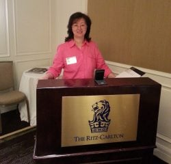 Ms. Jia-Jones at Ritz-Carlton, Virginia, taking Corporate Etiquette and International Protocol Training by the Protocol School of Washington; photo by Pamela Eyring